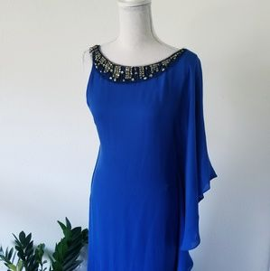 BCBG Royal Blue Ruffle Shoulder Jeweled Gown